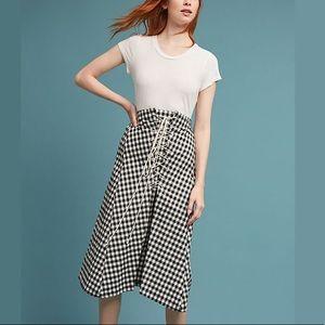 Anthropologie Eva Franco Lace Up Gingham Skirt